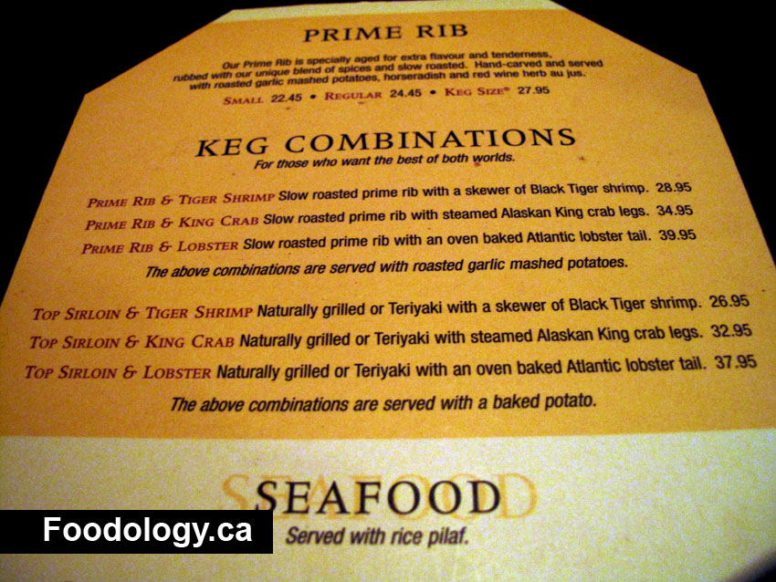 Keg Steakhouse Menu http://foodology.ca/the-keg-burnaby/