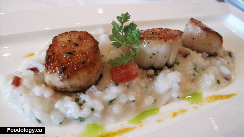Caramelized Scallops With double smoked Bacon Risotto was very creamy ...