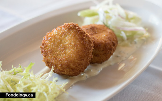 Dungeness Crab Cakes ($19) has shaved fennel & apple slaw and a ...