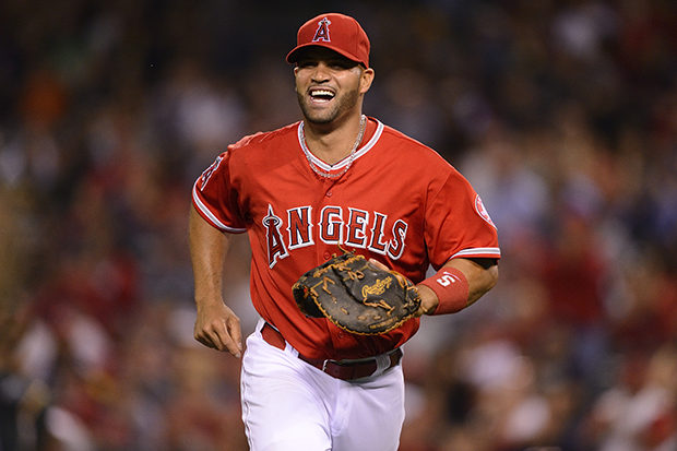 Albert Pujols smiling celebrating