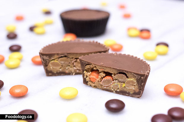Reese Peanut Butter Cups Stuffed With Reese S Pieces Cupfusion Foodology